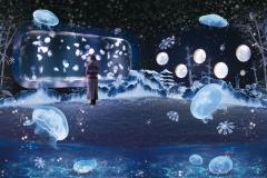 冬を楽しむインタラクティブアート『雪とくらげ』